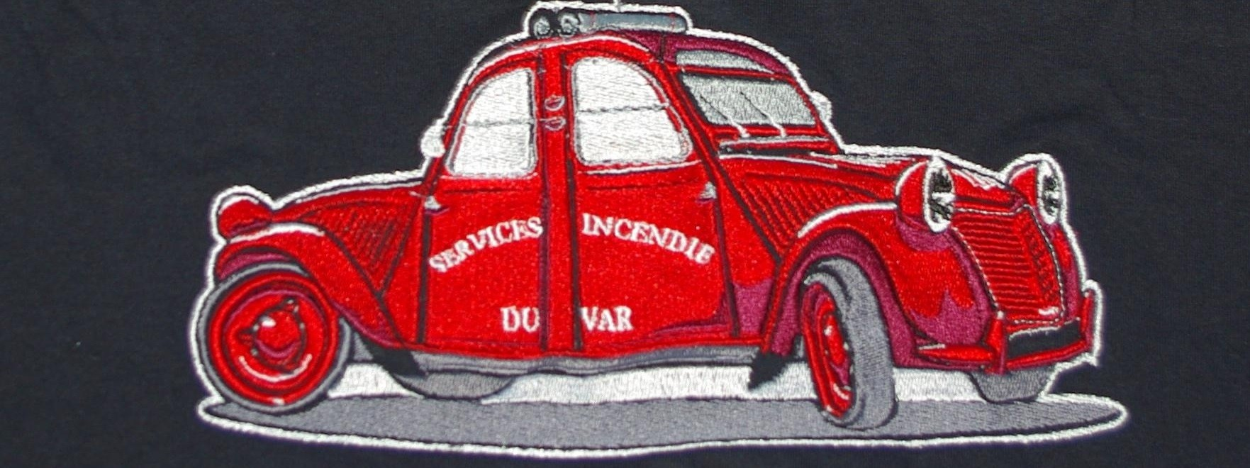 Broderie 2cv Pompiers Bicephale